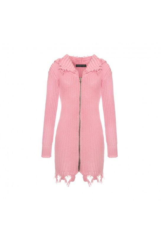 Sukienka dzianinowa w kolorze różowym