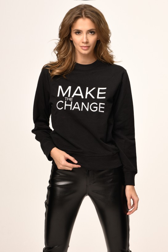 Bluza z haftowanym napisem MAKE THE CHANGE