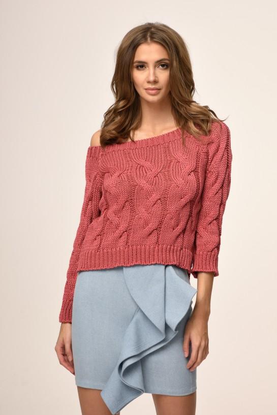 Sweter dzianinowy w kolorze ceglanym