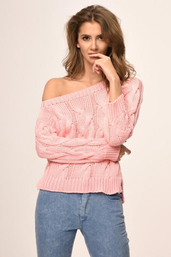 Sweter dzianinowy w kolorze różowym