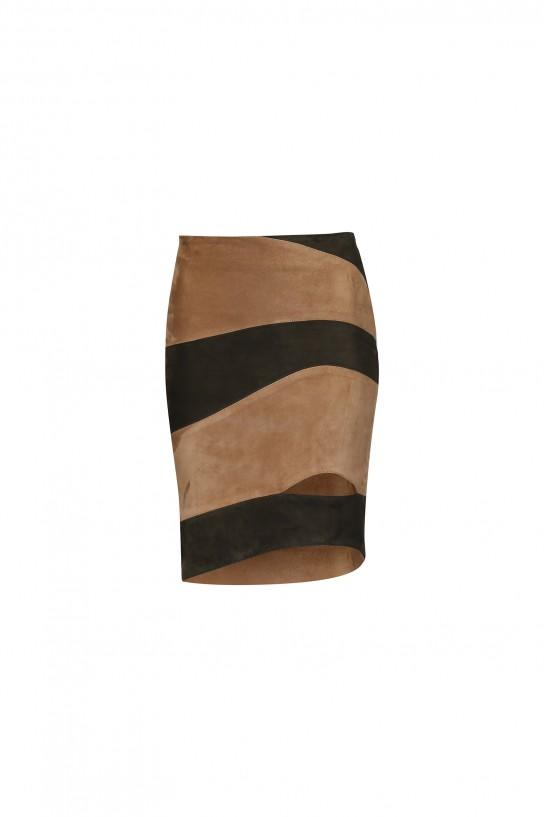 Dwukolorowa spódnica zamszowa