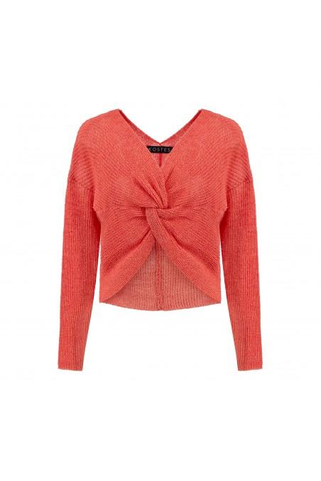 Sweter z fantazyjnym słupłem koralowy