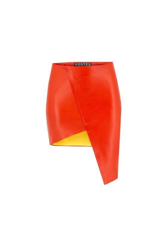 Spódnica skórzana pomarańczowa