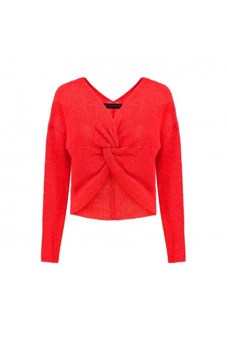 Sweter z fantazyjnym supłem czerwony