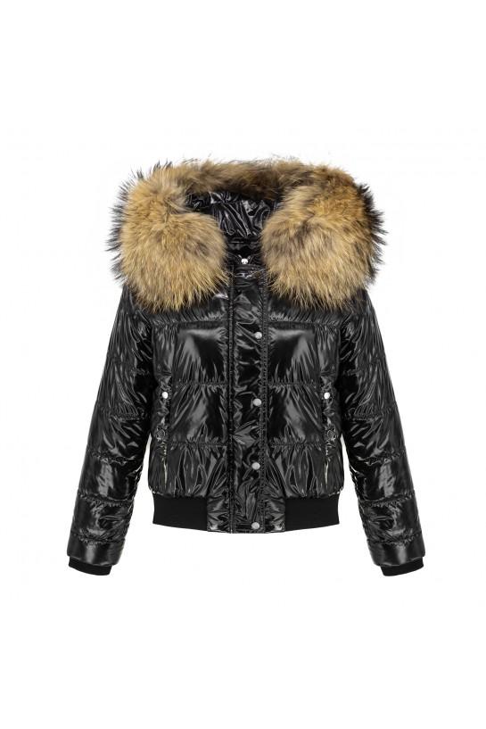 Lakierowana kurtka czarna