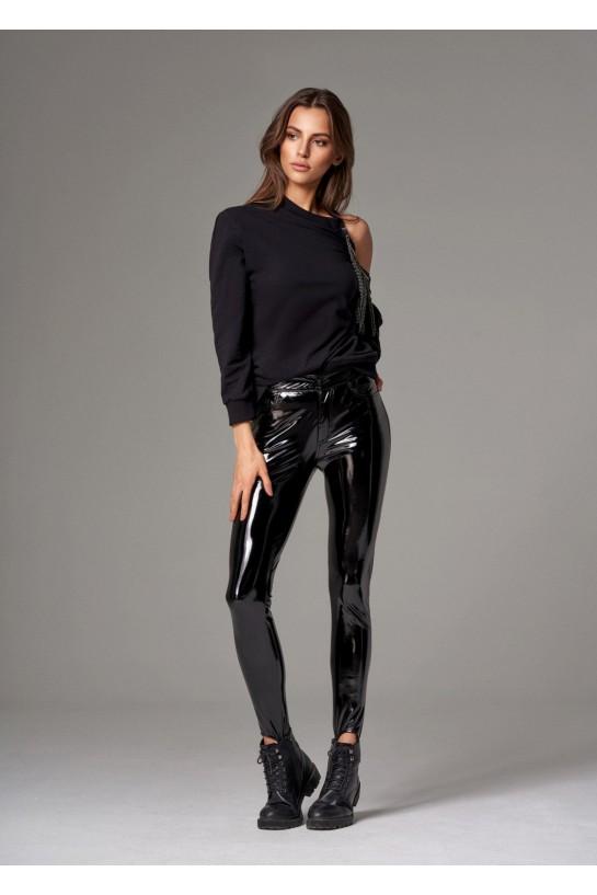 Czarne spodnie lateksowe