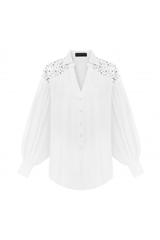 Koszula biała z dżetami