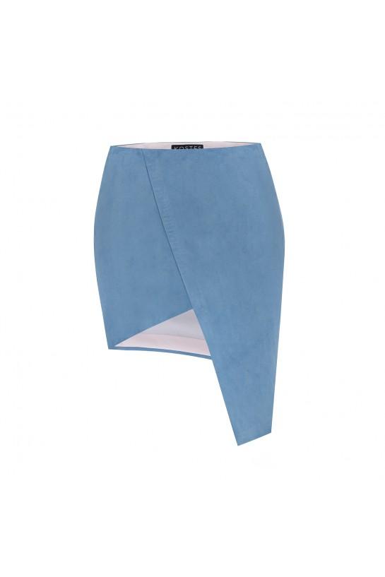 Spódnica asymetryczna zamszowa