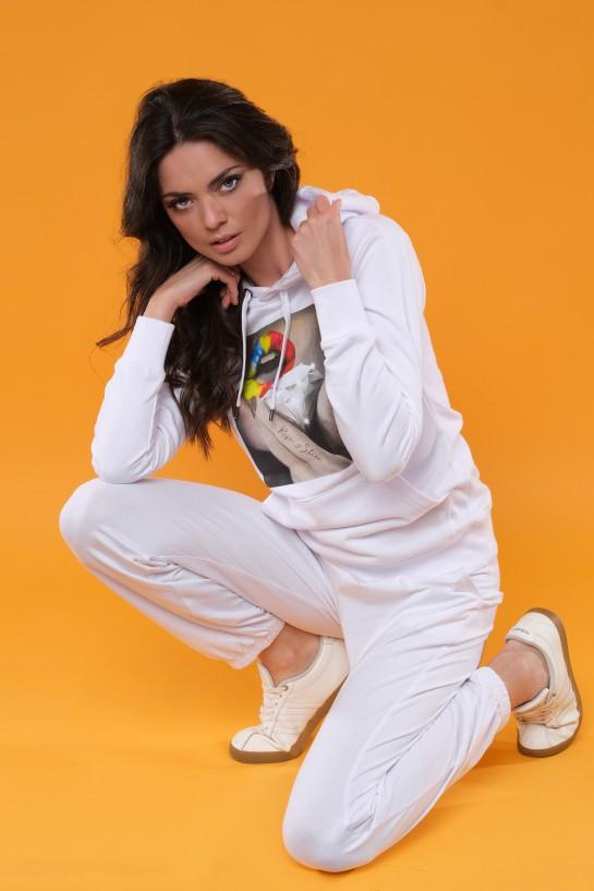 Bluza z kapturem RISE&SHINE biała