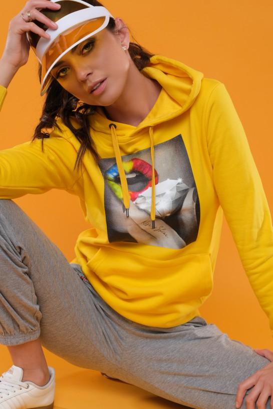 Bluza z kapturem RISE&SHINE żółta
