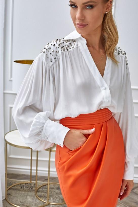 Spódnica ze skóry w kolorze pomarańczowym