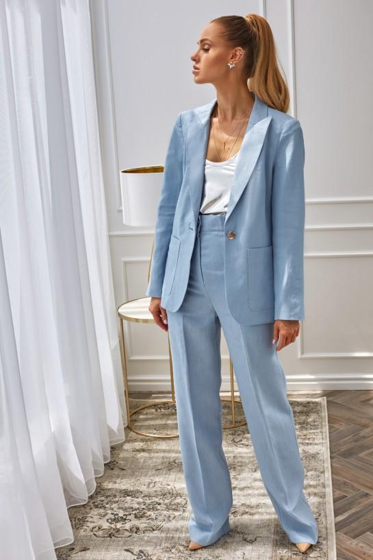 Spodnie błękitne z lnu