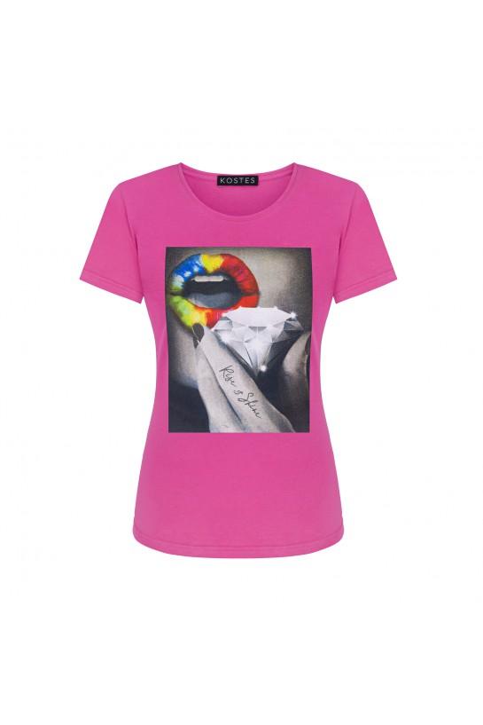 T-shirt RISE&SHINE różowy