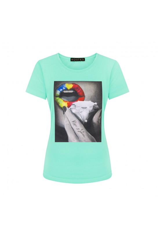 T-shirt RISE&SHINE pistacjowy