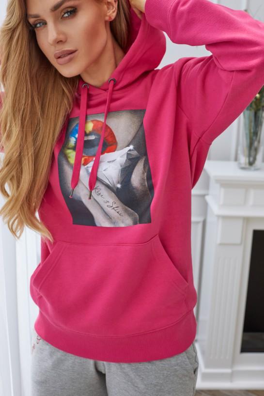 Bluza z kapturem RISE&SHINE różowa