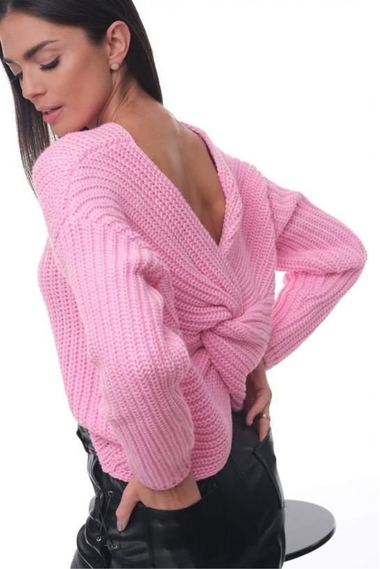 Sweter z fantazyjnym supłem