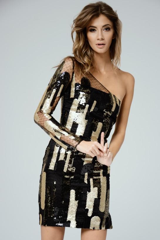 Sukienka cekinowa na jedno ramię